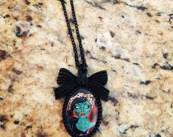 Zombie pinup needs love too 25 x 18mm black resin bow pendant rockabilly retro art