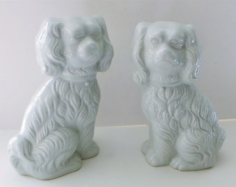 Two white porcelain dog statues dog figurine collectibles made in Japan