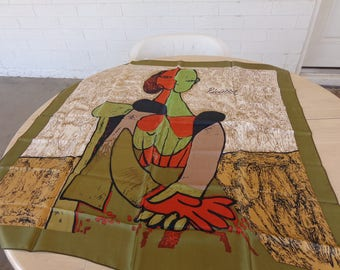 Vintage Picasso Beige Silk large scarf in beige  red  olive  Signed and beautiful 34 x 34 inches
