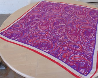 Evan Picone Signed Silk Paisley Scarf in Red White andf Blue 31 x 30 inches Vintage