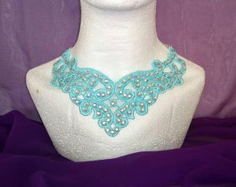 Turquoise blue filigree lace necklace