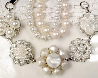 OOAK Vintage Ivory Pearl Rhinestone Bridal Bracelet, Silver Vintage Cluster Earring Bracelet Vintage Modern Wedding Something Old Gift Charm