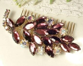 OOAK Vintage Purple Burgundy Bridal Hair Comb, Gold Aburgine Wine Rhinestone Hairpiece, Eggplant Hair Piece Vintage Wedding Merlot Clip