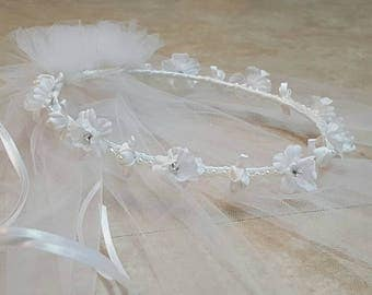 First Communion Floral Wreath Halo Tiara Pearl Rhinestone Headpiece Veil Flower Girl