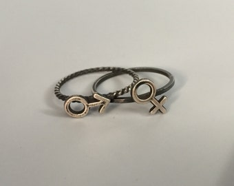 Male or Female Stacking Ring. Sterling silver stacker jewelry mix and match. Gender sex symbol jewelry.