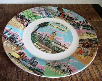 "Vintage 9"" Historic Los Angeles Souvenir Decorative Wall Plate"