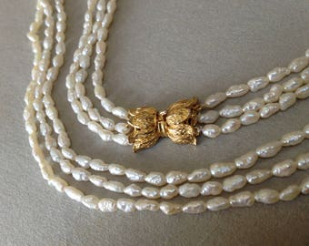 Freshwater Rice Pearl Multi Strand Necklace – 1980s Pearls Torsade