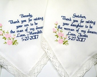 Wedding Gift for Mom Mother of the Bride and Groom Gift for both Moms from Bride and Groom Embroidered Handkerchief by Canyon Embroidery