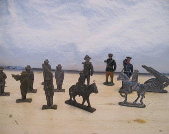 Lot of 12 Military Toy Lead Soldiers