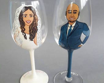 Hand Painted Personalized Bridesmaid gift glasses for Bridal Party Bride and Groom