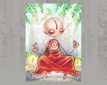 Levitating meditation - Original ACEO, Copic marker drawing