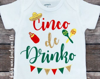Cinco De Mayo Baby Outfit; Cinco de Drinko Funny Holiday Outfit; Festive; Red Green and Yellow; Maracas; Bottle; Sombrero