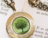 Christmas Sale Green Tree Locket Necklace - Bronze Locket - Welcome Change (green) - Wearable Art with Bronze Chain