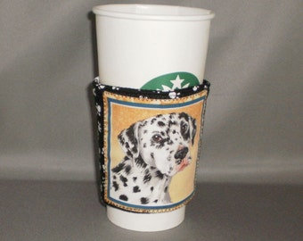Coffee Cozy - Dalmation - Coffee Cuff -  Coffee Sleeve - Reuseable Fabric Cozy - Eco Friendly - Dog - Paw Prints
