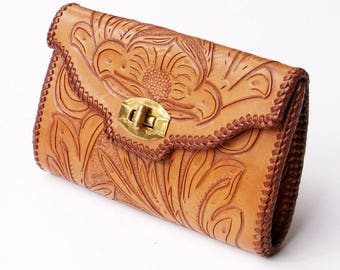 Vintage Tooled Leather Clutch Western Handbag