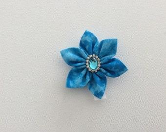 Dog Collar Flower - Rhinestone Button - Ready to ship