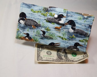 Ladies Wallet, Bifold Clutch, Loon Wallet, Woman's Fabric Wallet,  Made in USA