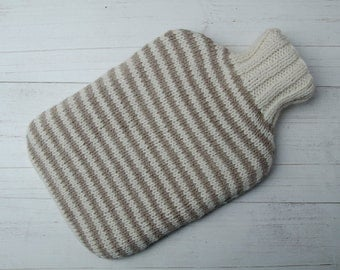 Knitted Hot water bottle in oatmeal and cream stripes wool and alpaca