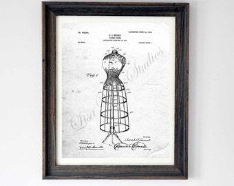 Digital download, Dress Form Patent drawing, wall art print