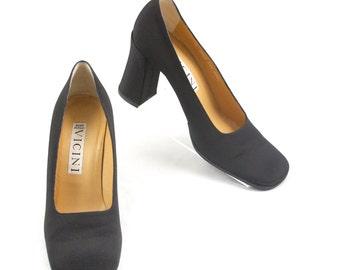 90s Black Grosgrain Tall 85mm Block Heel 60s Style Pumps by VICINI Italy Moda 8.5B *8 #29