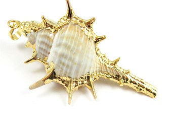 Gold Spike Pendant,Natural Cabrits Murex Pendant, Gold plated Large Shell Pendant, Gold Dipped Shell Necklace Pendant 75mm -Sku: 292084