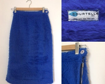 Vintage 1960s blue fuzzy COURTELLE pencil skirt / sixties tactile furry cobalt fitted skirt - Extra Small