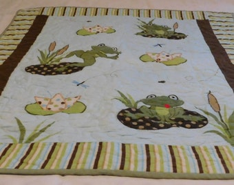 Whimsical Frogs Baby Quilt, unique item, baby blanket, nursery item, nursery decor, baby quilt, baby toy, handcraft quilt, newborn quilt