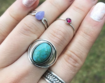 Faux Turquoise Ring / Size 7 Antique Silver Boho Bohemian Statement Gypsy Costume Summer Music Festival Style Free Spirit Chunky Oval Blue
