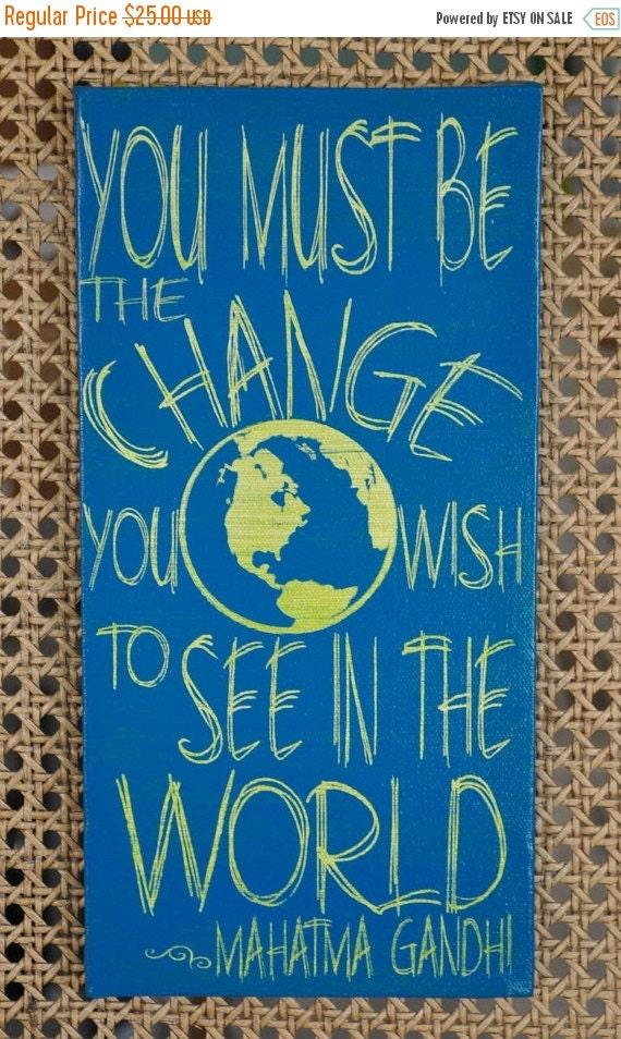 Rush for Christmas Mahatma Gandhi - Change the World - Unique Canvas Art