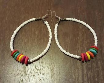 Oval Beaded Hoops Multicolor