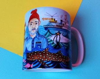 Life Aquatic mug / Bill Murray mug / Wes Anderson gift / Steve Zissou/ unique coffee mug / movie mug / Wes Anderson mug/ statement mug