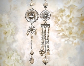 Mystique Asymmetrical Earrings Taupe Beige Chandelier Earrings Bohemian Wedding Jewelry Light Coffee Smoky Topaz Greige Festival Earrings
