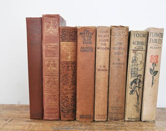 Vintage Book Collection Lot Shades of Beige Brown Neutral Set of 8 Display Books Antique Decorative Collectible Book Classic Library