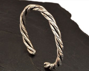 Mens Bracelet, Silver Bracelet, Men's Silver Bangle, Mens Cuff Bracelet, Mens Silver Cuff, Twisted Bracelet, Mens Gift, Mens Jewelry