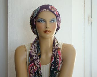 scarf with needle lace trim, turkish oya