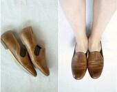 SALE 40% OFF Vintage brown leather slip on / simple loafer wittner / 7