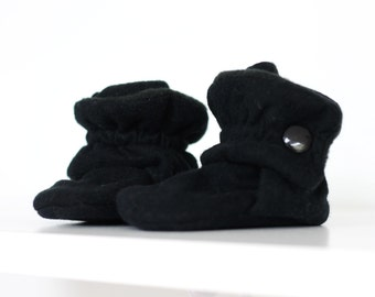 Baby Shoes - Baby Booties - Toddler Shoes - Crib Shoes - Soft Sole - Baby Girl Booties - Baby Boy Booties- Black