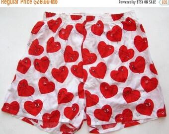 HOLIDAY SALE Vintage 50s Mens Novelty Print Valentine's Day Cotton Boxer Shorts 40