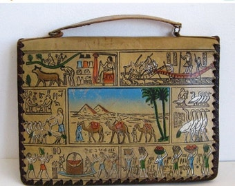 HOLIDAY SALE Vintage Egyptian Tooled Leather Attache Case Satchel Purse Bag