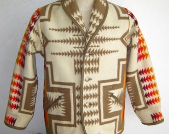 Vintage Mens Pendleton Chief Joseph Reversible Wool Indian Blanket Jacket Car Coat Large