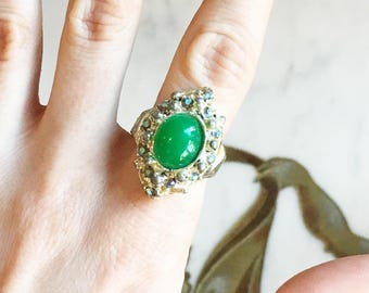 Vintage 60s Large Ring Green Jade Glass AB Rhinestones