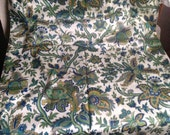 Vintage French Fabric Panel / Silk Green Floral Pattern/ Home Decor 164 x132 cm Furnishing Projects