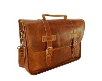 """DIAZ 17"""" Genuine Leather Briefcase / Laptop Satchel / Messenger Shoulder Bag in Crazy Horse Tanned Brown"""