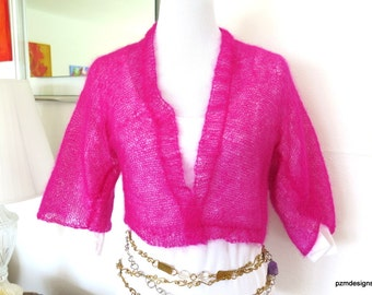 Hot Pink Mohair Shrug, Silk and Kid Mohair Knit Jacket, Gift for Her