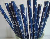 Nautical anchor navy blue Paper Straws, Party Straws, Nautical Theme Navy Blue Straws, baby shower birthday party