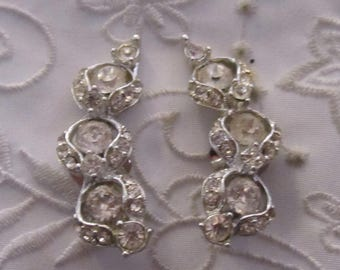Vintage Silver Tone Large Curved Rhinestone Clip On Earrings