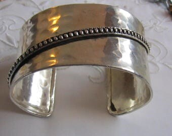 Vintage Hammered Pewter Wide Cuff Bracelet with Beaded Line Accent