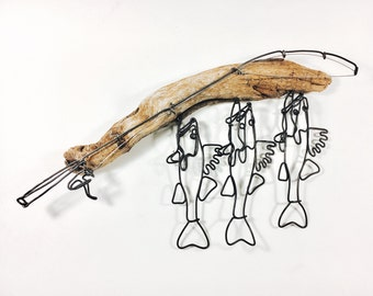 Walleye Stringer and Fishing Rod Wire Sculpture, Walleye Wire Art, Minimal Wire Sculpture, 495127654