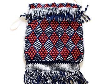 Vintage Purse Red White And Blue 1960s Beaded Fringe Drawstring Bag