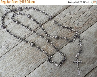 ON SALE Twisted blade rosary style necklace in sterling silver